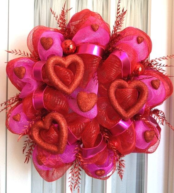 Valentine's Day Mesh Wreath Door Wreath Red Hot Pink Hearts