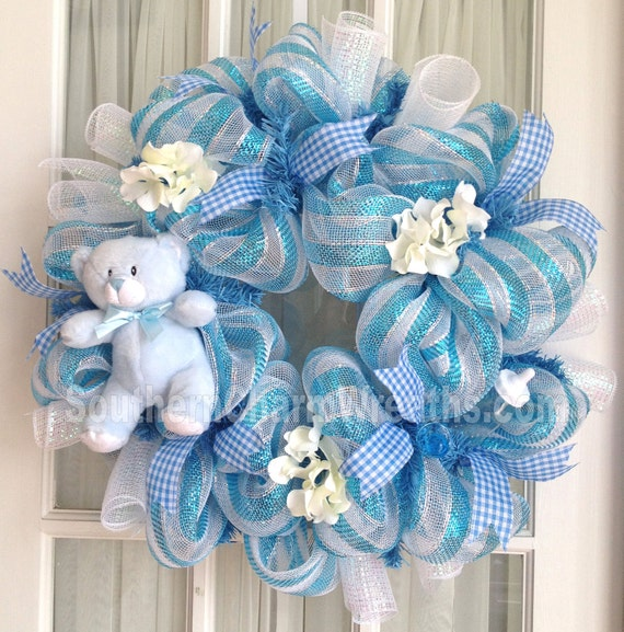 Deco Mesh Baby Boy Wreath Blue White Baby Door Hanger Baby