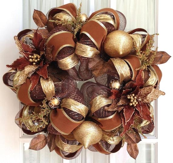 Deco Mesh Christmas Tree Wreath: Items Similar To Deco Mesh Christmas Wreath Chocolate