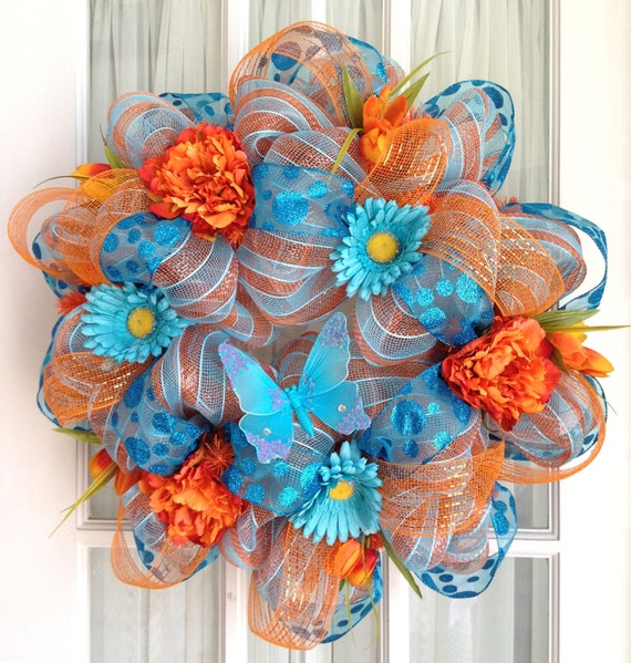 Deco Mesh Door Wreath Orange Turquoise Stripe Summer Door Wreath