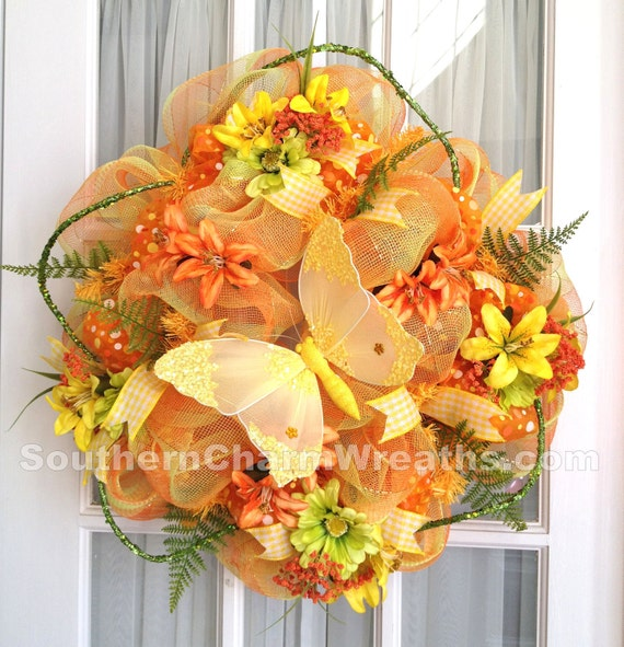 Summer Deco Mesh Wreath Orange Yellow Lime Plaid Door Wreath