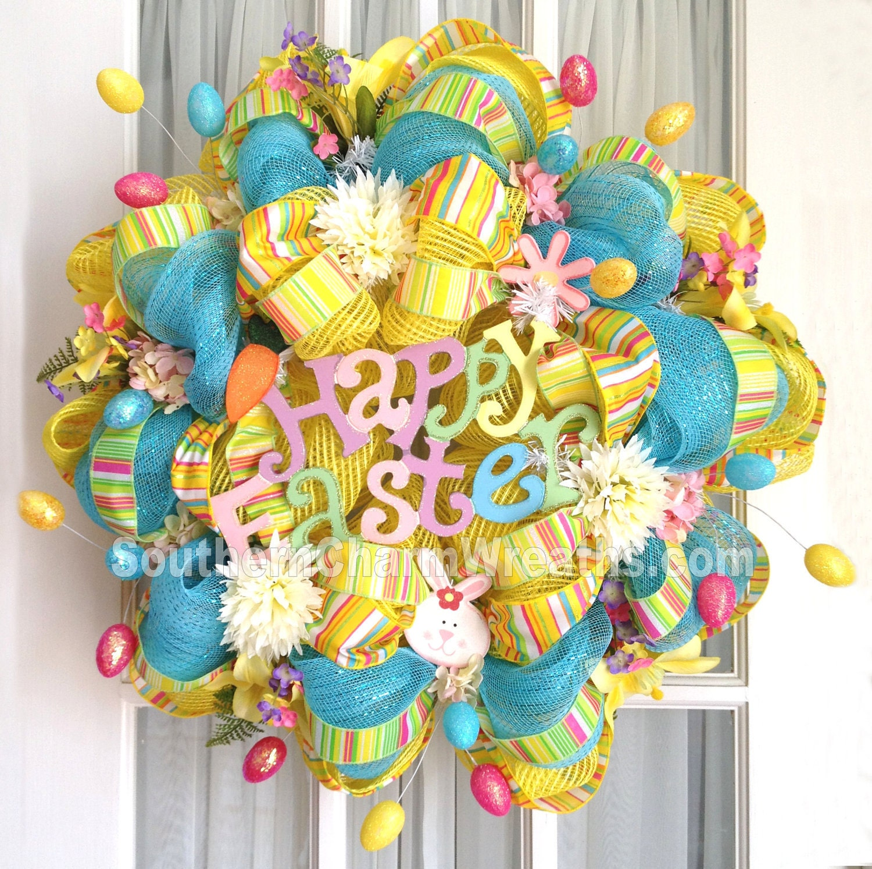 Deco Mesh Wreath Happy Easter W Eggs