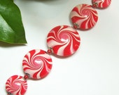 Handmade Polymer Clay Beads Set Lentils Swirl Spiral Red White Silver Bead Caps Jewelry Supplies Christmas Holiday Peppermint...Candy Cane