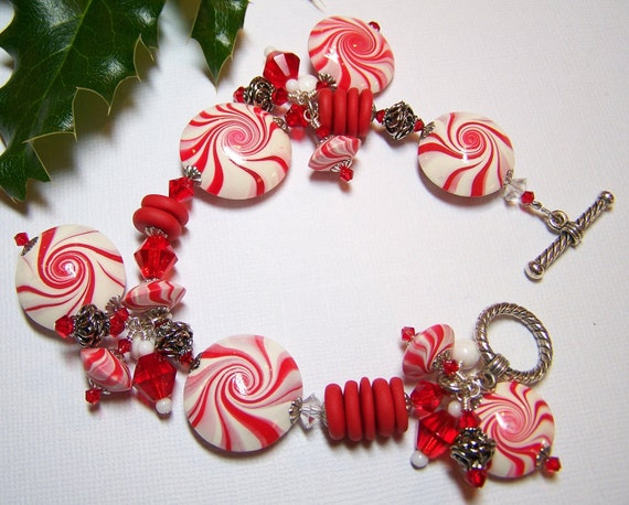 Handmade Jewelry Bracelet Beaded Christmas Holiday Peppermint Candy Red White Polymer Clay Beads Swirl Spiral Crystal...Peppermint Bliss