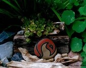 Unique Landscape Still Life Photography of Rock Art in a Green Garden & Rustic Wood Home Decor Gift Office Gift Ideas for Him Gifts for Her