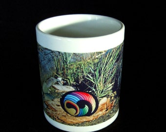 Ceramic Coffee Mug with Unique Design Rainbow Colored Painted Rock Driftwood & Sea Grass Striking Home Trends Gift Idea House Warming Gift