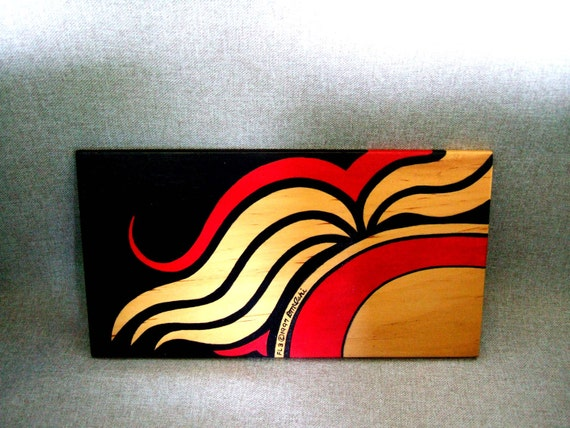 Hand Painted Keepsake Jewelry Box Home Decor Office Decor Red and Black Unique Design