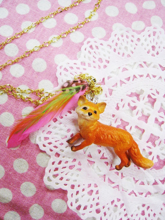 Fox with Pink Feather Necklace