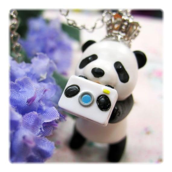 Panda Pendant loves Camera Silver Chain Necklace
