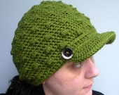 Crochet Newsboy tam cap beanie hat in deep Avocado green, medium slouch for juniors or adults, ready to ship.