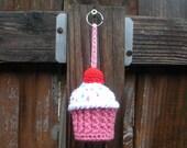 SALE Plush Crochet Cupcake Keychain Stuffie, ready to ship.