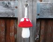 SALE Red Mushroom Toadstool Crochet Plush Keychain, ready to ship.