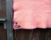 Large Crochet Baby Afghan in Peach Sorbet, ready to ship.