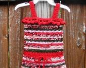 Infant Girls Crochet Tank Dress size 0-3 months, ready to ship.