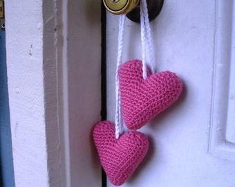SALE Plush Amigurumi Crochet Hanging Pink Valentine Heart Stuffies, ready to ship.