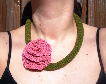 SALE Olive Green Cotton Crochet Necklace with Large Pink Hemp Rose, ready to ship.