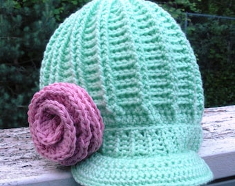 SALE, Chunky ribbed crochet newsboy hat in Pistachio Green with large pink spiral rose, ready to ship