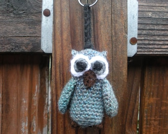 SALE Miniature Plush Crochet Owl Keychain in light turquoise blue variegated, ready to ship.