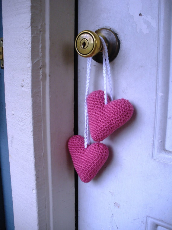 SALE Plush Amigurumi Crochet Hanging Pink Valentine Heart Stuffies, ready to ship.