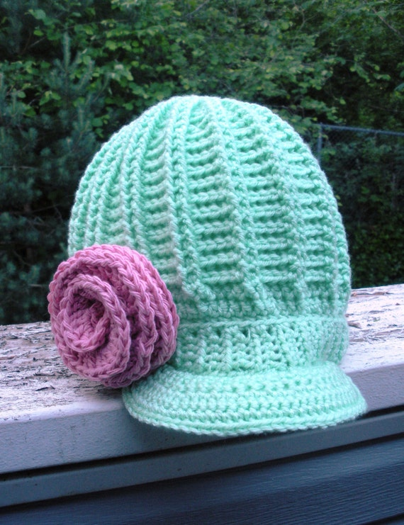 Crochet Hat Pattern Spiral Rib : SALE Chunky ribbed crochet newsboy hat in Pistachio by luvbuzz