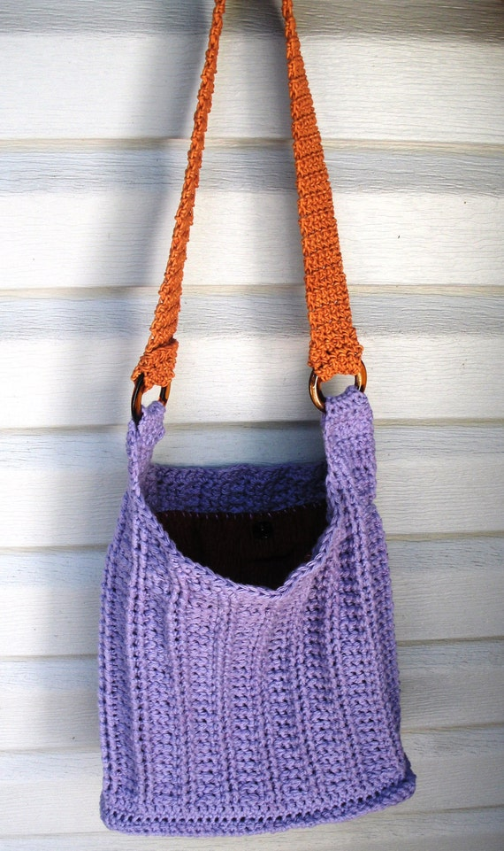 Lavender Cotton Crochet Shoulder Purse with rust lining, ready to ship.