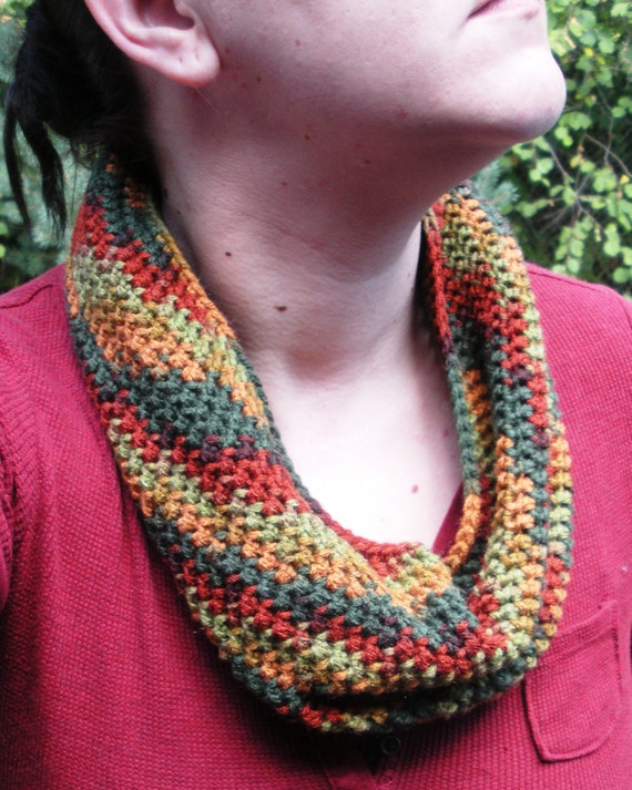 SALE Autumn Cowl crochet neckwarmer infinity circle scarf unisex, ready to ship.