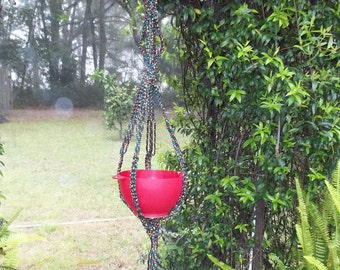 P-1222 Black with red, green, and yellow Plant Hanger