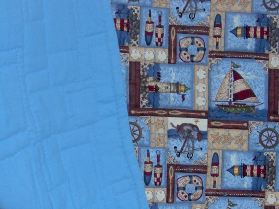 Q-0907 Hand Stitched Lighthouse Quilt