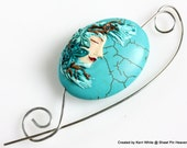 Shawl Pin Scarf Pin Brooch Turquoise Bead Butterfly Lady Animal