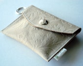 RESERVED CUSTOM ORDER for strawberrypie333 - New Style - Leather Keychain Wallet - Leafy Lacy Buttercream