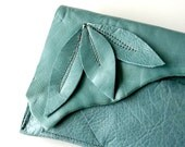 ONLY ONE - Leather Wristlet - RUSTIC - Finger Clutch with Triple Leaves and Raw Edge