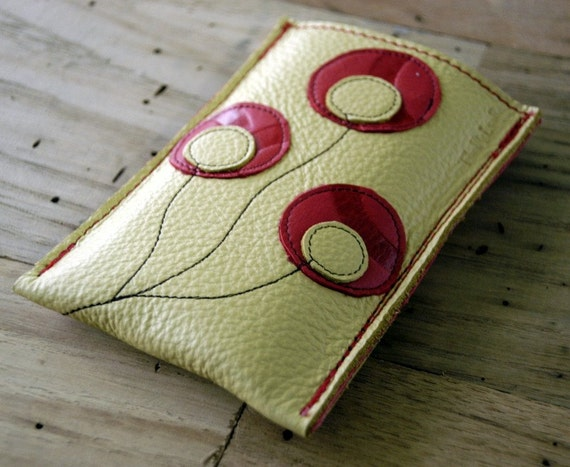 Leather Single Pocket Iphone, Ipod Touch, Ipod Classic, or Phone Case with 2 Card Slots - LINED with Leather - RUSTIC - Poppy Blooms
