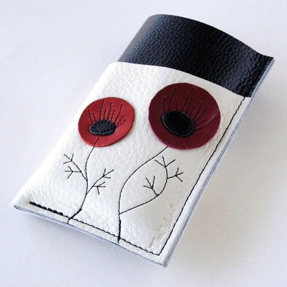 LEATHER Iphone Case - Gadgets, Phones, Ipod - Triple Pocket Slightly Larger - RUSTIC - Double Reds Poppy Bloooms