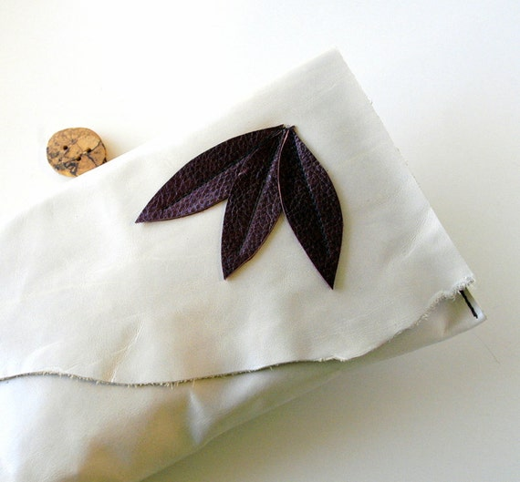 S A L E - Leather Clutch - RUSTIC - Triple Leaves with Raw Edge