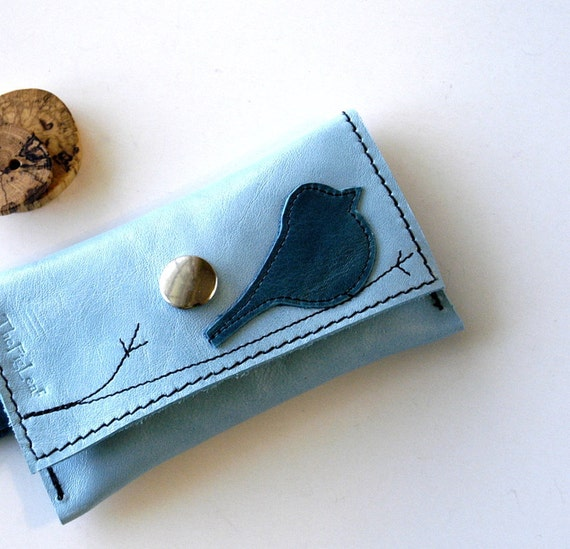 Leather Wallet - Keychain Style MINI - Rustic - Teal Blue Bird on Branch over Smooth Soft Leather in Sky Blue