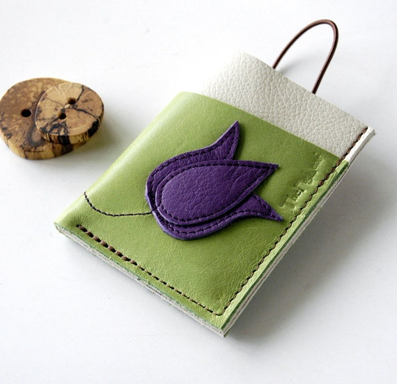 RESERVED LISTING ------- Leather Wallet 3 Pocket with Stay In Place Attachment - Rustic - Tulip on Stem