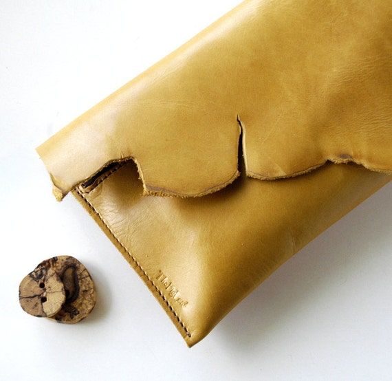 Leather Clutch - RUSTIC - with Raw Edge