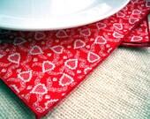 Red & White Valentine Cotton Cloth Napkins Eco Friendly Reusable
