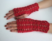 Scarlet Cottony Shelled Fingerless Gloves