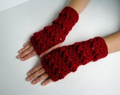 Cranberry Red Lacy Stripes Fingerless Gloves