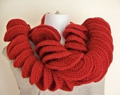 Womens Crochet Scarf, Paprika Swirly Fashion Scarf