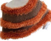 Knit Wrap Copper and Brown, Hand Knit Faux Fur Wrap, Knit Capelet