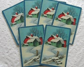 Sweet Winter Country Barn Scene, set of 6 vintage playing cards for collage and other papercrafting (PC0016)