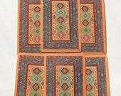 Magic Carpet or Oriental Rug Playing Cards in Orange, Collage Ephemera: six card lot (PC0036)