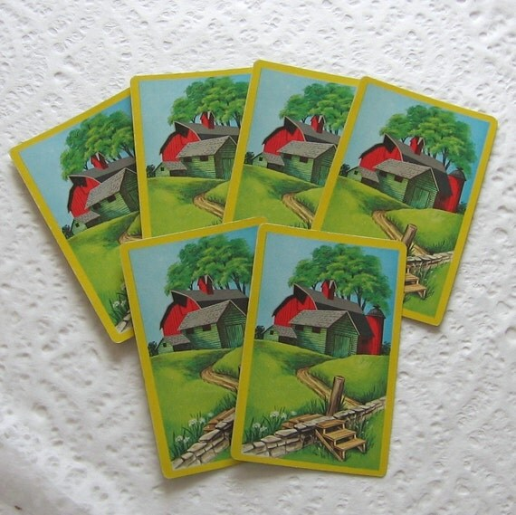 Summer Barn Scene, Cute and Cheerful set of 6 playing cards (PC0015) scenic vintage ephemera