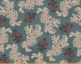 Vanity Fair by Windham 30954-7 Slate Blue Floral Civil War Reproduction Fabric