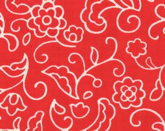 Moda Fabric - Leafy Swirl in Tomato Soup Red from Sophie by Chez Moi