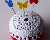 Pincushion in red  felt and white crochet including butterfly pins