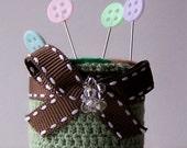 Pincushion pin cushion bottle cup green crochet and felt rolls