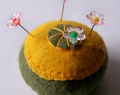 Pincushion pin cushion yellow and green felt
